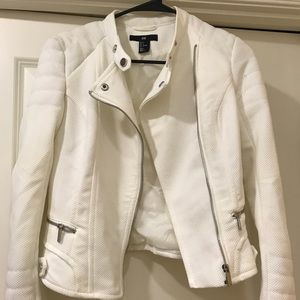 H&M quilted white moto jacket